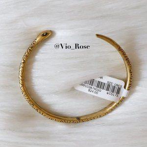 Madewell Gold Snake Cuff Brass Open End Bracelet